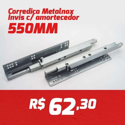 CAIXA 10 PARES CORREDIÇA INVISIVEL METALNOX 550MM COM AMORTECEDOR
