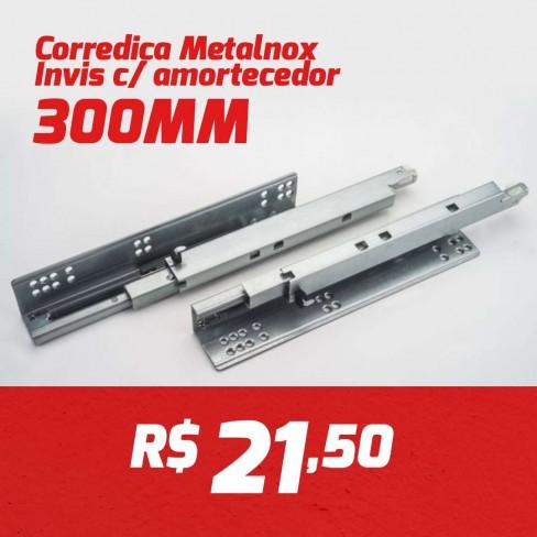 CAIXA 10 PARES CORREDIÇA INVISIVEL METALNOX 300MM COM AMORTECEDOR
