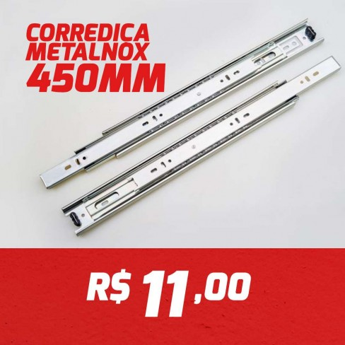 CAIXA 15 PARES CORREDIÇA METALNOX 450MM