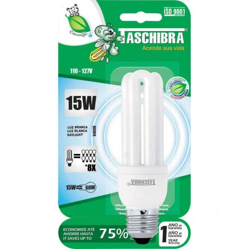 LAMPADA TASCHIBRA COMPACTA 3U 15W 6400K