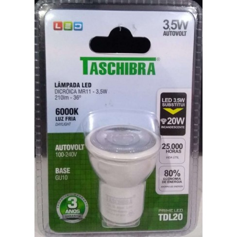 LAMPADA TASCHIBRA LED MR11 3,5W 6000K DICROICA